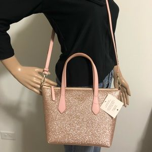 New Kate Spade glitter crossbody satchel